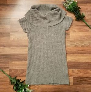 Energie gray ribbed cowl neck short sleeve sweater